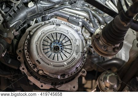 Detail Of Car Clutch Assembly In A Workshop, Car Reparation Engine