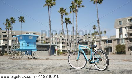 Blue Bicycle, Cruiser Bike By Ocean Beach, Pacific Coast, Oceanside California Usa. Summertime Vacat