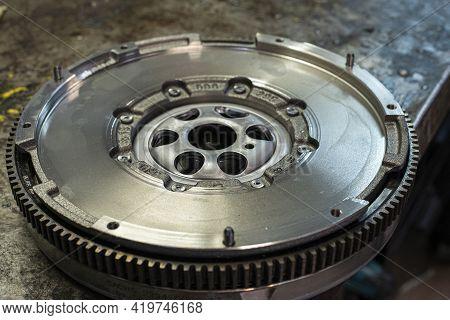 Detail Of Car Flywheel In A Workshop, Car Spare Parts