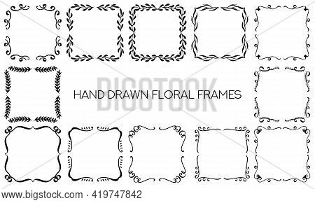 Set Of Hand Drawn Ornamental Monogram Frames. Decorative Vector Floral Design Elements Collection. .