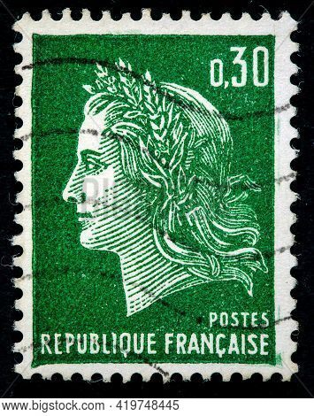 France - Ca. 1969: A Stamp Printed In France Ca. 1969 Showing The Image Of Marianne A National Emble