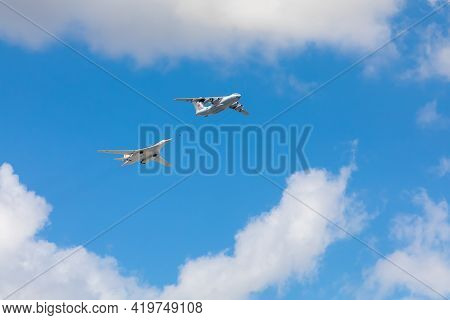 7 May 2021, Russia, Moscow. Rehearsal Of The Parade. Air Flight .refueller Il-78 Over Buildings