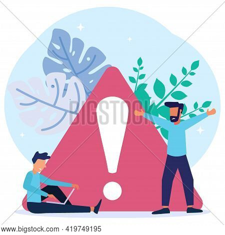 Vector Illustration Of Business Concept, Error 404, Internet Signal Is Interrupted, Unavailable, Bus