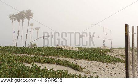 Traffic Light Semaphore, Highway Road By Sandy Misty Beach, Encinitas California Usa. Pacific Ocean