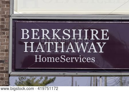 Indianapolis - Circa May 2021: Berkshire Hathaway Homeservices Sign. Homeservices Is Subsidiary Of B