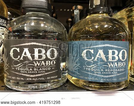 Indianapolis - Circa February 2021: Cabo Wabo Tequila Display. Cabo Wabo Tequila Was Backed By Sammy