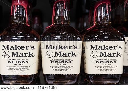 Indianapolis - Circa May 2021: Makers Mark Whisky Display. Makers Mark Small Batch Whisky Is Part Of