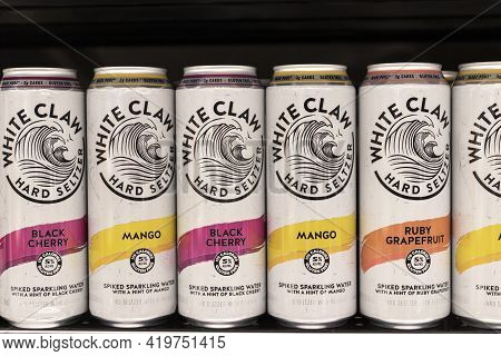 Indianapolis - Circa May 2021: White Claw Hard Seltzer Display. In 2019, White Claw Accounted For Ov