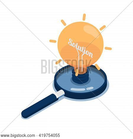 Flat 3d Isometric Light Bulb Of Idea With Word Solution Inside Over Magnifying Glass. Business Solut