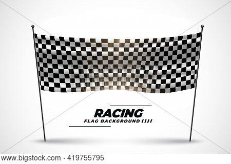 Racing Flag Banner For Start Or Finish Of Race