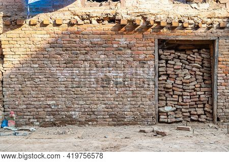 The Old Remaining Wall From Big Earthquake Hit Kathmandu The Capital Cities Of Nepal. A Magnitude 7.