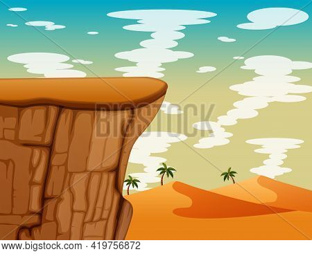Scene With Mountain Cliff In The Desert Illustration