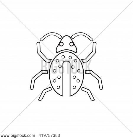 Bug. Large Beetle On A White Background. Freehand Linear Hand Drawn Logo Sketchy In Retro Doodle Sty