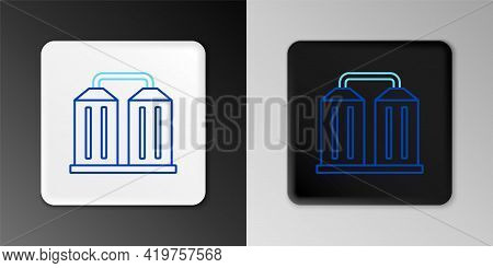 Line Granary Icon Isolated On Grey Background. Silo With Grain, Elevator, Granary, Factory. Warehous