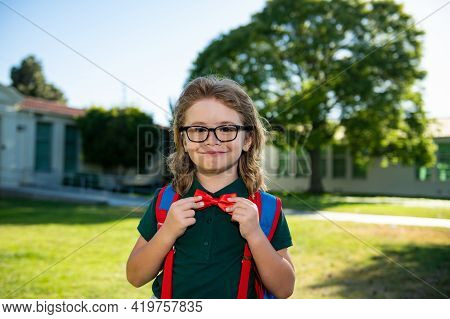 Schoolboy Ready To Study. Education And Learning For Kids. Portrait Of Elementary Pupil In School Pa