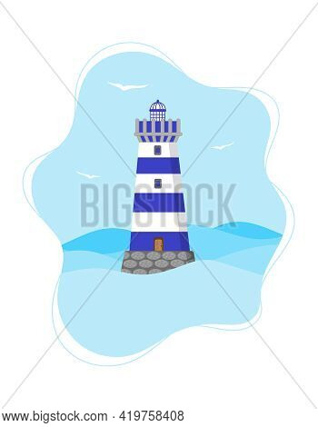 Blue Lighthouse. Vertical Banner Template With Seascape And Lighthouse. Light House In The Sea With