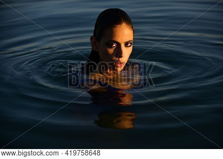 Summer Portrait. Sensual Girl In Water. Beauty Woman. Fashion Portrait