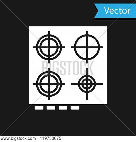 White Gas Stove Icon Isolated On Black Background. Cooktop Sign. Hob With Four Circle Burners. Vecto