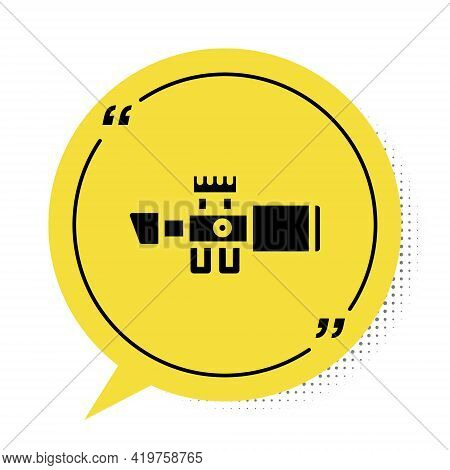 Black Sniper Optical Sight Icon Isolated On White Background. Sniper Scope Crosshairs. Yellow Speech