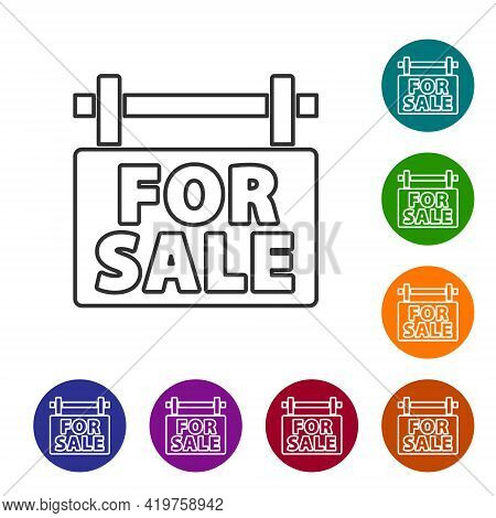 Black Line Hanging Sign With Text For Sale Icon Isolated On White Background. Signboard With Text Fo