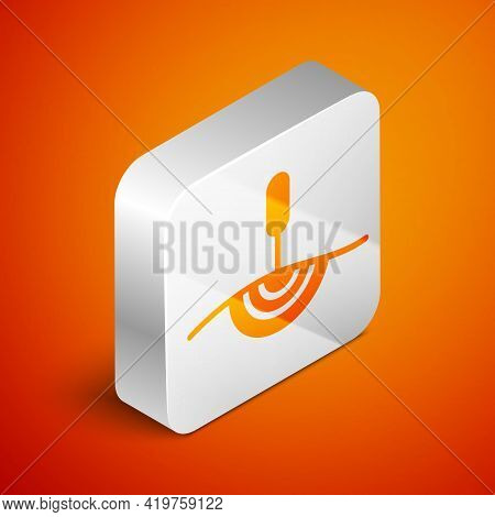 Isometric Acupuncture Therapy Icon Isolated On Orange Background. Chinese Medicine. Holistic Pain Ma