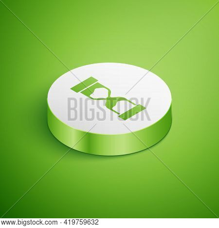 Isometric Old Hourglass With Flowing Sand Icon Isolated On Green Background. Sand Clock Sign. Busine