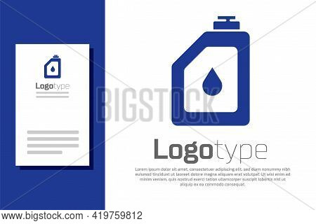 Blue Canister For Motor Machine Oil Icon Isolated On White Background. Oil Gallon. Oil Change Servic