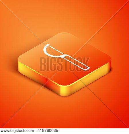 Isometric Dental Floss Icon Isolated On Orange Background. Vector