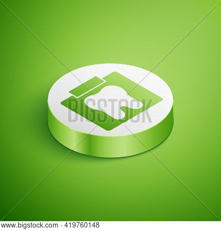 Isometric X-ray Of Tooth Icon Isolated On Green Background. Dental X-ray. Radiology Image. White Cir