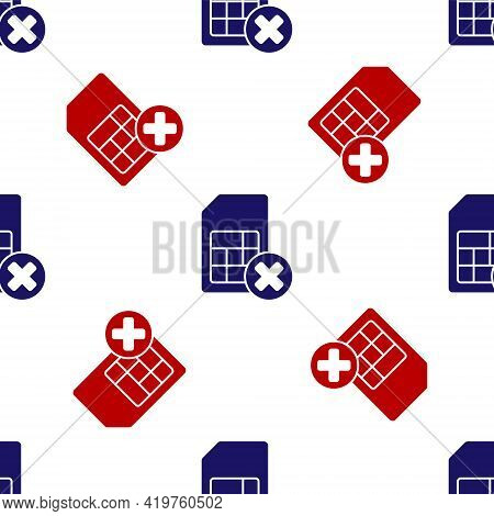 Blue And Red Sim Card Rejected Icon Isolated Seamless Pattern On White Background. Mobile Cellular P