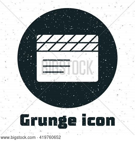 Grunge Movie Clapper Icon Isolated On White Background. Film Clapper Board. Clapperboard Sign. Cinem