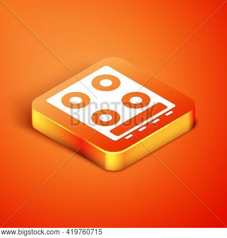 Isometric Gas Stove Icon Isolated On Orange Background. Cooktop Sign. Hob With Four Circle Burners.