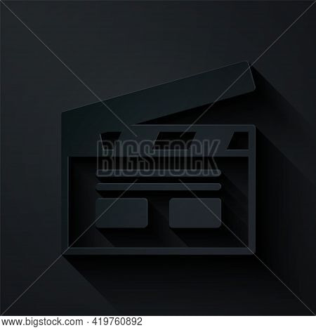 Paper Cut Bollywood Indian Cinema Icon Isolated On Black Background. Movie Clapper. Film Clapper Boa