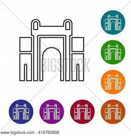 Black Line India Gate In New Delhi, India Icon Isolated On White Background. Gate Way Of India Mumba