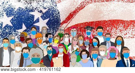 People On The Background Of The Flag Of America. People With Flag Of United States Of America. Ameri