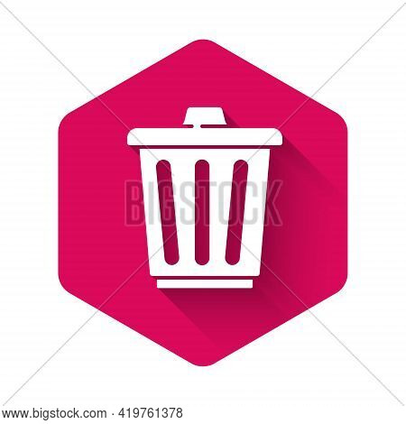 White Trash Can Icon Isolated With Long Shadow. Garbage Bin Sign. Recycle Basket Icon. Office Trash