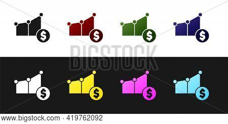 Set Pie Chart Infographic And Dollar Symbol Icon Isolated On Black And White Background. Diagram Cha