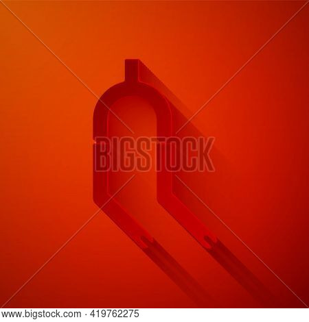 Paper Cut Bicycle Suspension Fork Icon Isolated On Red Background. Sport Transportation Spare Part S