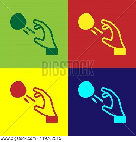 Pop Art Hooligan Shooting Small Stones Icon Isolated On Color Background. Demonstrator. Vector