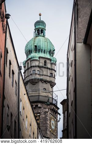 Stadtturm, The Gothic Tower Of  The Old Town Hall Called Altes Rathaus In Innsbruck, Tyrol, Austria