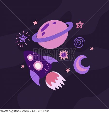 Childrens Illustration Of A Spaceship With A Crescent Moon, Saturn And Stars On Dark Violet Backgrou