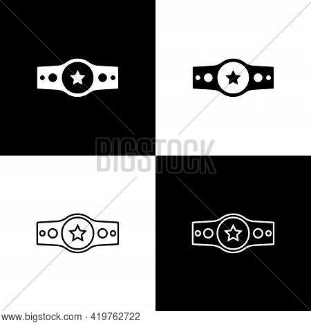 Set Boxing Belt Icon Isolated On Black And White Background. Belt Boxing Sport Championship Winner F