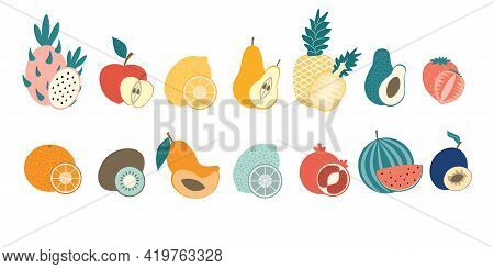 A Set Of Whole Fruits And Half. Healthy Natural Exotic Food On An Isolated Background. The Fruit. Se