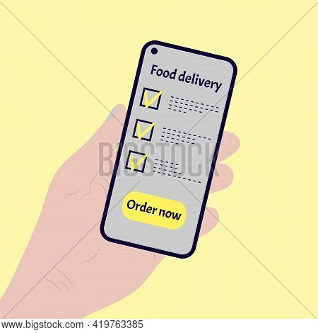 Ordering Food Using Online Mobile Application. Hand Holding Phone With Mobile App Order Food Online