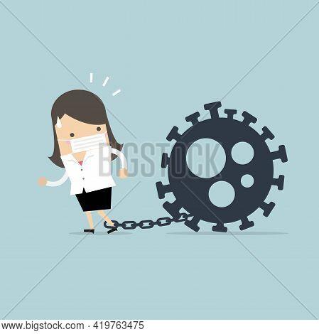 Businesswoman Locked In Chains With The Coronavirus. Covid-19 Corona Virus Impact To Businesswoman C