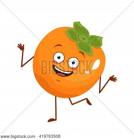 Cute Persimmon Character Cheerful With Emotions Dancing, Face, Arms And Legs. The Funny, Happy Or Sm