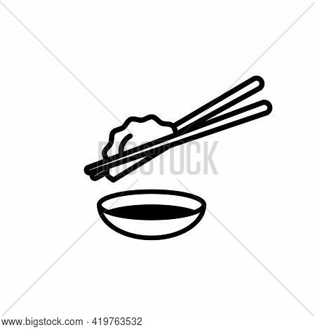 Dumpling Or Gyoza With Shoyu Icon Vector.