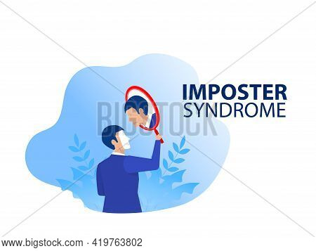 Imposter Syndrome.businessman Holding A Mirror With Fear Shadow Behind. Anxiety And Lack Of Self Con