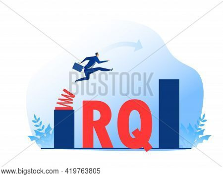 Businessman Jump Spring Across The Growing Bar Chart.resilience Quotient Vector Illustrator.