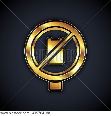 Gold No Cell Phone Icon Isolated On Black Background. No Talking And Calling Sign. Cell Prohibition.